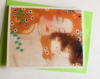Mother and Child, Klimt, Christmas, art card, note card, stationary, paper goods, New Year, Peace, Solstice, Gaia, Love