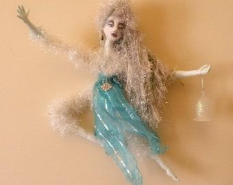 WINTER SOLSTICE Elemental, Celtic, OOAK, art doll, mixed-media, moon, winter, Yule, druid, pagan, home decor, art, collectibles