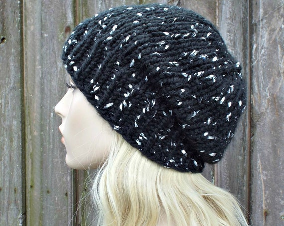 Chunky Knit Hat Womens Black and Silver Beanie - Black Hat Black Knit Hat Black Beanie - Knit Accessories Winter Hat - READY TO SHIP