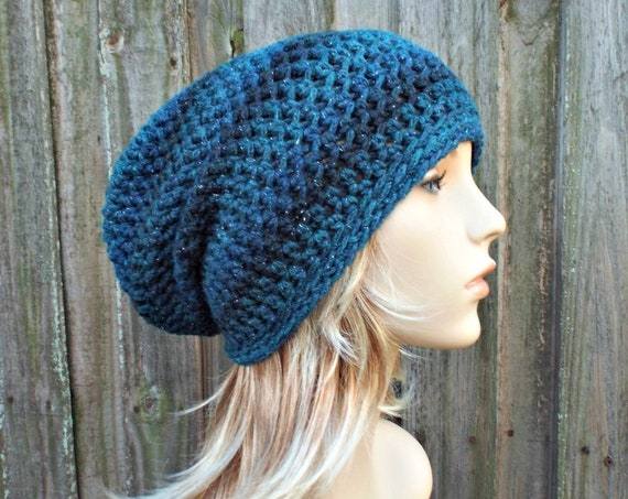 Crochet Hat Womens Hat - Leighton Slouchy Striped Beanie Hat in Moonlight Blue Hat Metallic Hat Womens Accessories - READY TO SHIP