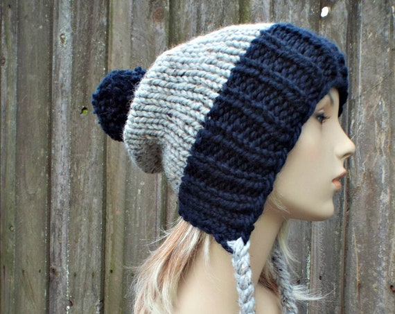 Chunky Knit Hat Womens Navy and Grey Pom Pom Hat - Slouchy Ear Flap Beanie Braided Ties Warm Winter Hat - Charlotte - READY TO SHIP