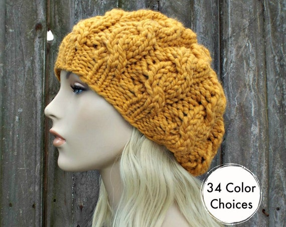 Chunky Knit Hat Womens Slouchy Beanie - Mustard Cable Beret Knit Accessories - Mustard Hat Mustard Beret Yellow Beanie