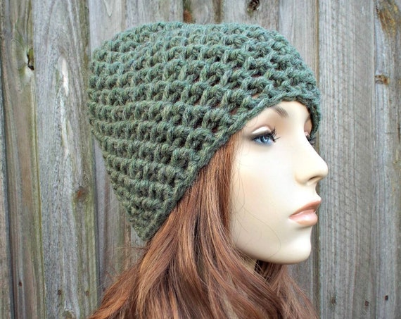 Honeycomb Beanie in Willow Green - Green Crochet Hat Green Womens Hat Green Mens Hat - Green Beanie Warm Winter Hat - READY TO SHIP