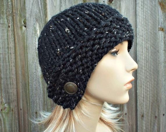 Black Knit Hat Womens Hat Obsidian Tweed Black Cloche Hat - Black Beanie Black Hat Black Womens Hat Black Winter Hat - READY TO SHIP