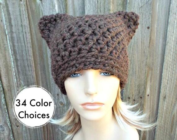 Brown Cat Hat - Crochet Womens Winter Beanie in Wood Brown - Brown Pussyhat Brown Pussy Hat - 34 Color choices