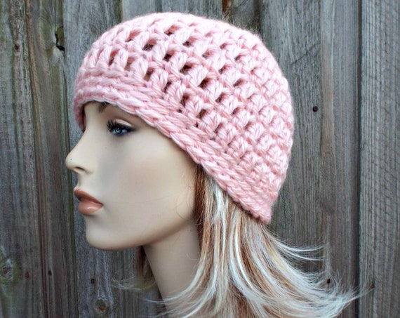 Pink Acrylic Beanie Providence Pink Hat Pink Beanie - Pink Womens Hat Crochet Womens Hat - Warm Pink Winter Hat - READY TO SHIP