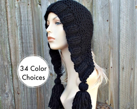 Chunky Knit Hat Women Hat Black Hood Black Ear Flap Hat - Black Tassel Hat - Black Knit Hat - Knit Accessories - 34 Color Choices