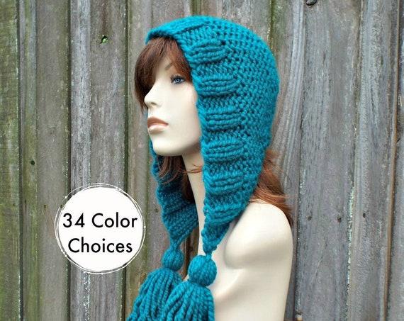 9df8a6a5550 ... Chunky Knit Hat Women Hat Peacock Blue Hood Blue Ear Flap Hat - Peacock  Blue Tassel