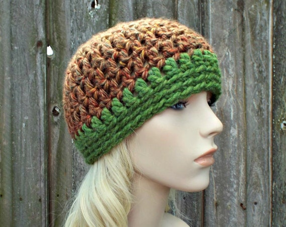 Copper Brown and Green Womens Hat - Brown Hat Brown Crochet Hat Brown Beanie Womens Chunky Crochet Winter Hat - READY TO SHIP