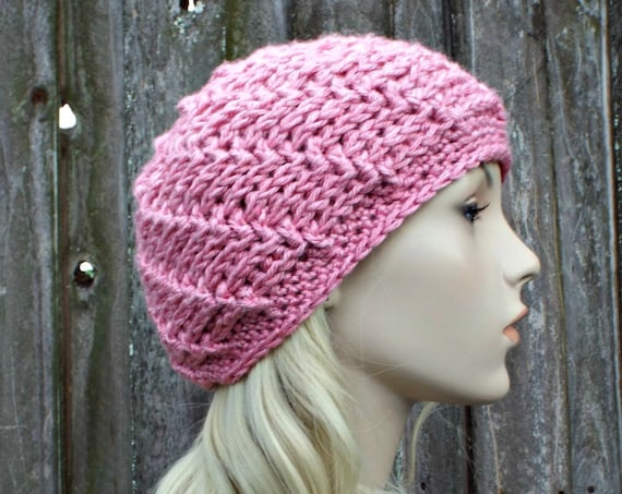 Pink Beanie Pink Hat Pink Beret Pink Womens Hat - Pink Crochet Hat Pink Winter Hat - READY TO SHIP