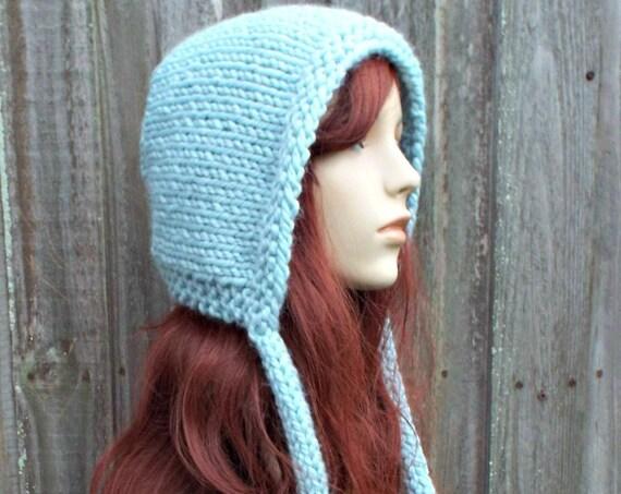Glacier Blue Knit Hat - Blue Aviator Hat Blue Adult Bonnet - Blue Knit Hood with Ties - Blue Womens Hat Blue Winter Hat