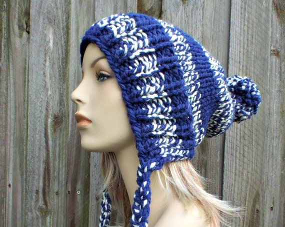 Blue and Cream Slouchy Pom Pom Hat - Blue Hat Blue Beanie Slouchy Hat Slouchy Beanie  Winter Hat Womens Hat Charlotte
