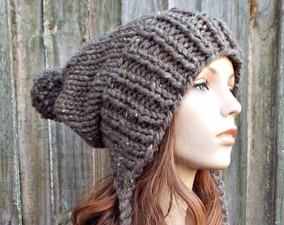 Barley Tweed Brown Slouchy Hat Womens Hat - Brown Hat Brown Beanie - Charlotte Ear Flap Hat With Pom Pom Knit Accessories