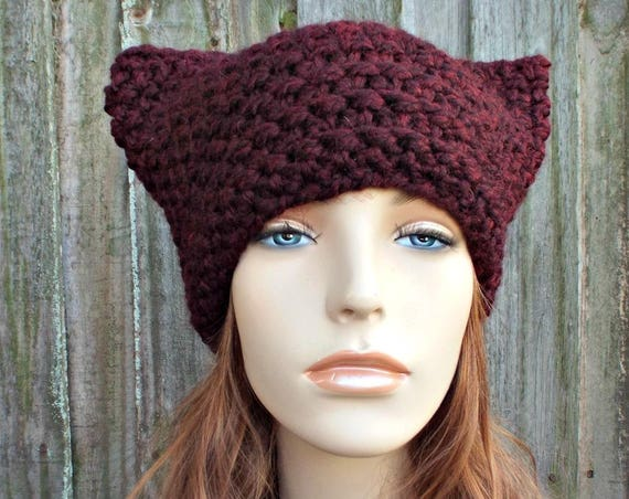 Red Claret Burgundy Cat Hat - Thermal Crochet Womens Winter Beanie Red Hat Red Beanie - Red Pussyhat Red Pussy Hat