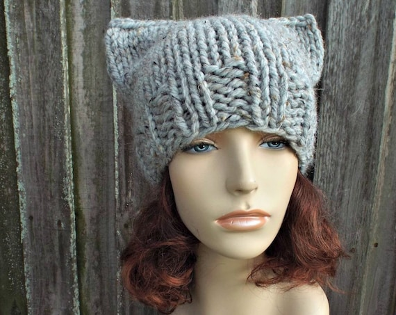 Chunky Knit Hat Womens Hat - Grey Cat Beanie Hat in Tweed Grey Owl Knit Hat - Grey Hat Grey Beanie Grey Cat Hat Winter Hat - READY TO SHIP