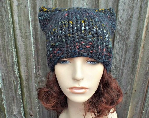 2e3081fd4f8 Chunky Knit Hat Womens Cat Hat - Grey Cat Beanie Grey Knit Hat - Grey Hat