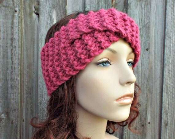 Twisted Turban Knitted Headband in Raspberry Pink - Pink Headband Pink Earwarmer Womens Headwrap - Knit Accessories