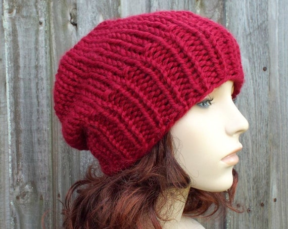 Chunky Knit Hat Womens Warm Winter Hat Knit Accessories - Adaline Slouchy Beanie - Cranberry Red Hat Olive Red Beanie