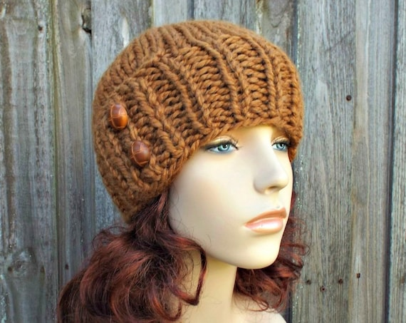 Chunky Knit Hat Womens Beanie Hazelnut Brown Knit Hat - Brown Hat Brown Beanie Brown Winter Hat - Lydia Fitted Beanie - READY TO SHIP