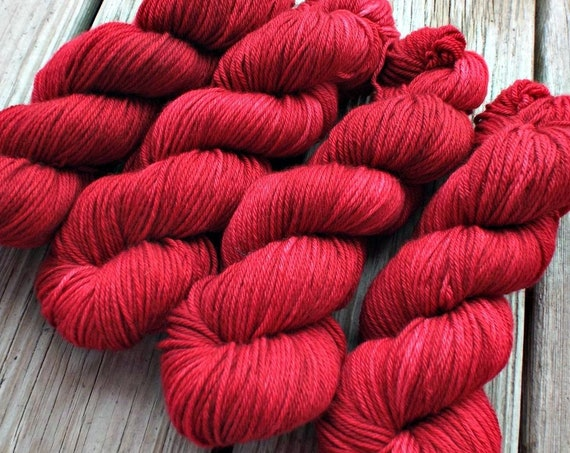 Red Hand Dyed Yarn 100% Superwash Merino Yarn Red Worsted Weight Yarn - 218 Yards - Tonal Semi-Solid Red Yarn Red Merino Yarn - Winterberry