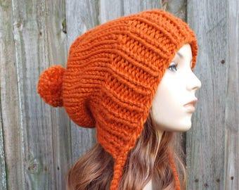 ef211e2bc27746 Pumpkin Orange Chunky Knit Hat Women Pom Pom Hat - Charlotte Slouchy Ear  Flap Hat - Orange Beanie Orange Hat