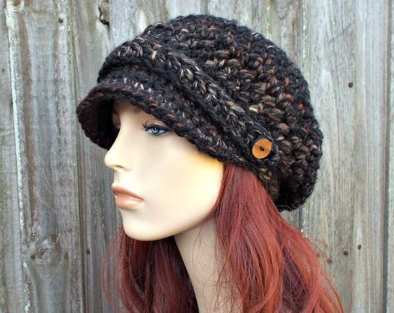 Toasted Almond Brown and Black Hat Black Newsboy Hat Black Crochet Hat Black Womens Hat Black Slouchy Hat Fall Fashion Winter Accessories