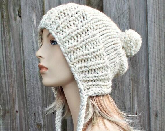 Wheat Cream Slouchy Pom Pom Hat - Cream Hat Cream Beanie Slouchy Hat Slouchy Beanie Winter Hat Womens Hat Charlotte