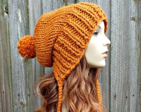Apricot Orange Chunky Knit Hat Women Pom Pom Hat - Charlotte Slouchy Ear Flap Hat - Orange Beanie Orange Hat