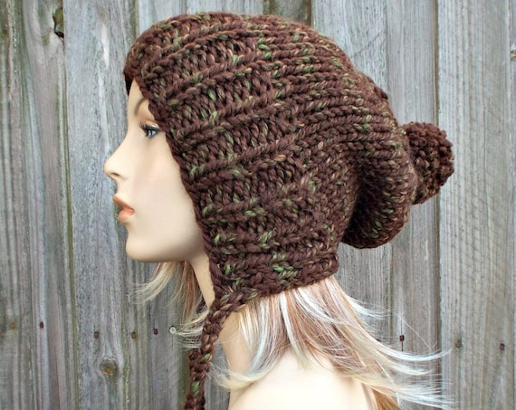 Mesquite Brown Slouchy Ear Flap Hat With Pom Pom - Knit Womens Winter Beanie - Charlotte