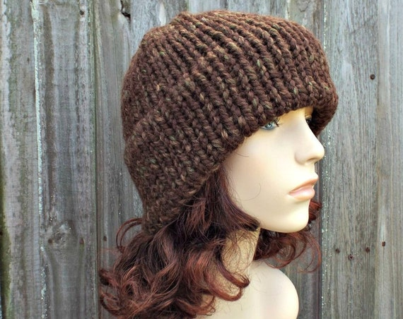 Mesquite Brown Mens Or Womens Double Thick Brim Knit Hat - Warm Thick Winter Beanie - Brown Hat Brown Beanie - Delphine