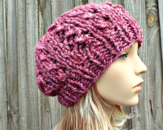 Instant Download Chunky Beanie Knitting Pattern - Knit Hat Pattern Womens Hat Pattern Knit Accessories - Super Bulky Yarn - Wisteria Beanie