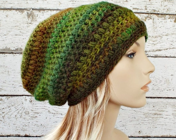 Crochet Hat Womens Hat - Penelope Puff Stitch Slouchy Beanie Hat - Green Rainforest - Green Slouchy Hat Winter Hat - READY TO SHIP