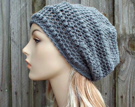 Slate Grey Slouchy Beanie - Grey Crochet Hat Grey Womens Hat Grey Hat Grey Beanie Grey Winter Hat - Puff Stitch Hat - READY TO SHIP