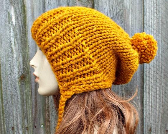 Chunky Knit Hat Women Deep Golden Butterscotch Beanie - Charlotte Slouchy Ear Flap Hat - Knit Accessories - READY TO SHIP