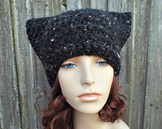 Black Tweed Cat Hat - Thermal Crochet Hat Women Warm Winter Beanie - Black Hat Black Beanie - Black Pussyhat Black Pussy Hat - READY TO SHIP