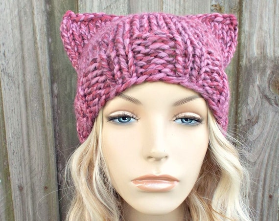 Mixed Pink Cat Hat - Womens Winter Knit Beanie in Wild Strawberry - Pink Pussyhat Pink Pussy Hat