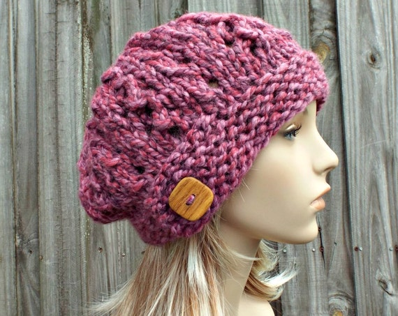 Pink Hat Pink Womens Hat - Wisteria Beret Chunky Lace Hat in Wild Strawberry Mixed Pink Beanie Pink Beret - Pink Knit Hat Womens Accessories