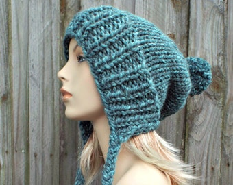 b5a891729a6 Turquoise Blue Slouchy Hat Womens Hat - Mixed Blue Hat Blue Beanie Blue  Slouchy Beanie - Charlotte Slouchy Ear Flap Hat