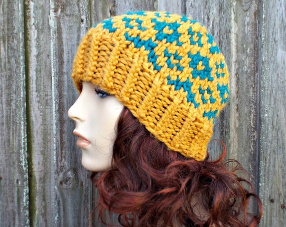 Anastasia Fair Isle Hat - Mustard and Peacock Knit Hat Womens Hat Mustard Beanie Mustard Hat - Mustard Winter Hat - READY TO SHIP