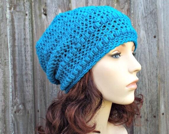 Breakwater Blue Crochet Hat Womens Hat - Penelope Puff Stitch Slouchy Beanie Hat - Blue Beanie Blue Hat Merino Hat - READY TO SHIP