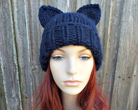 Blue Cat Hat Navy Cat Hat Cat Beanie - Folded Cuff Beanie Womens Winter Knit Beanie - Navy Pussyhat Navy Pussy Hat