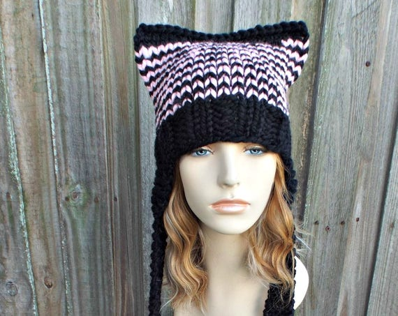 Black and Pink Pussyhat Ear Flap Cat Hat Knit Hat - Pink Hat Pink Beanie Pink Ear Flap Hat Pink Cat Hat Pink Pussy Hat