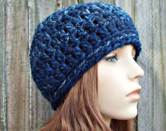 River Run Mixed Blue Beanie Blue Hat - Crochet Womens Hat Blue Mens Hat - Blue Womens Hat Warm Winter Hat - READY TO SHIP