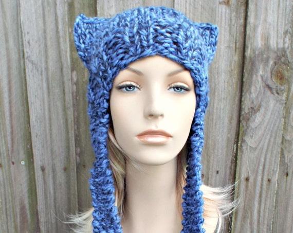 Blue Ear Flap Cat Hat - Acai Blue Knit Hat - Blue Hat Blue Beanie Blue Ear Flap Hat Blue Cat Hat Blue Winter Hat