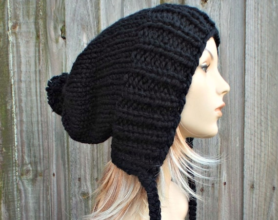 Womens Pom Pom Hat Black Slouchy Hat Knit Hat Black Hat Black Slouchy Beanie - Charlotte - Black Winter Hat