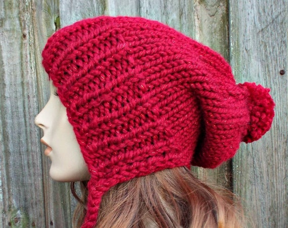 Metallic Poinsettia Red Slouchy Hat Red Womens Hat - Charlotte Slouchy Ear Flap Hat - Red Hat Red Beanie