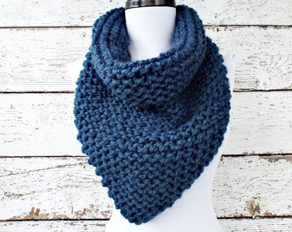 Womens Oversized Bandana Knit Cowl Denim Blue Scarf - Chunky Scarf Womens Knit Accessories Chunky Knit Scarf Winter Scarf