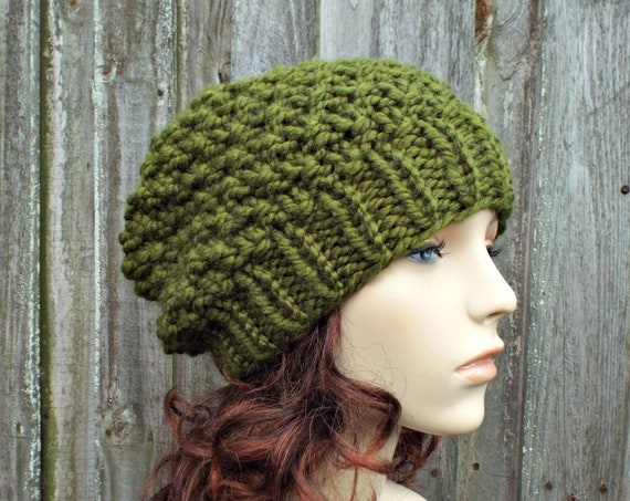 Olive Green Chunky Knit Hat Womens Beanie - Mossy Beanie in Olive Green - Olive Hat Green Hat Green Beanie Knit Accessories