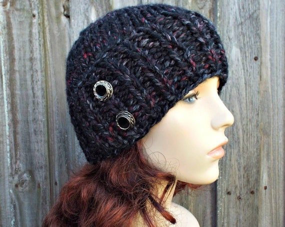 Chunky Knit Hat Womens Beanie Black Knit Hat - Blackstone Black Hat Black Beanie Black Winter Hat - Lydia Fitted Beanie - READY TO SHIP