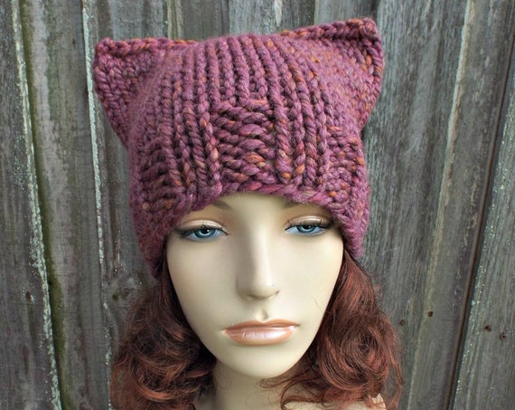 Mixed Pink Cat Hat - Chunky Knit Hat Womens Winter Knit Beanie in Crushed Violets - Pink Pussyhat Pink Pussy Hat